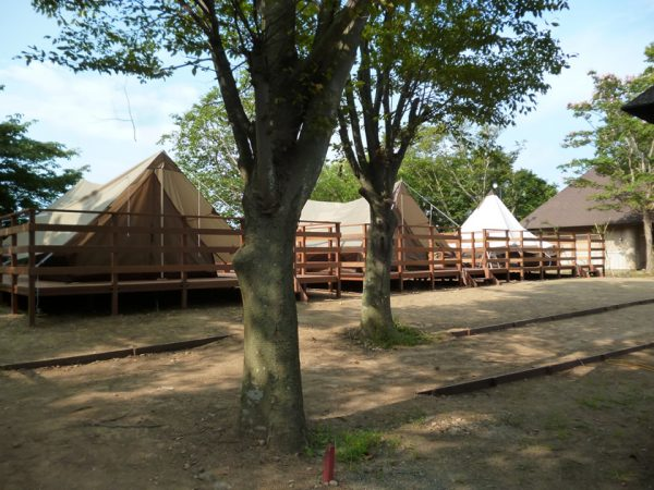 グランピングデッキにテントを設営