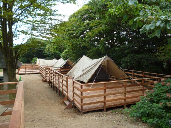 グランピングでっきんテントを設営