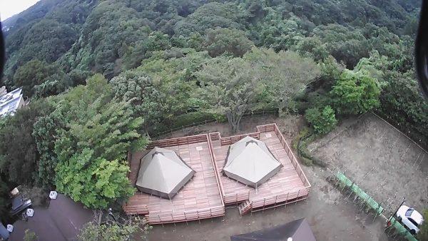 グランピング サイト上空からの写真